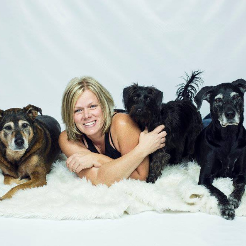 Julie Lessard with her three dogs