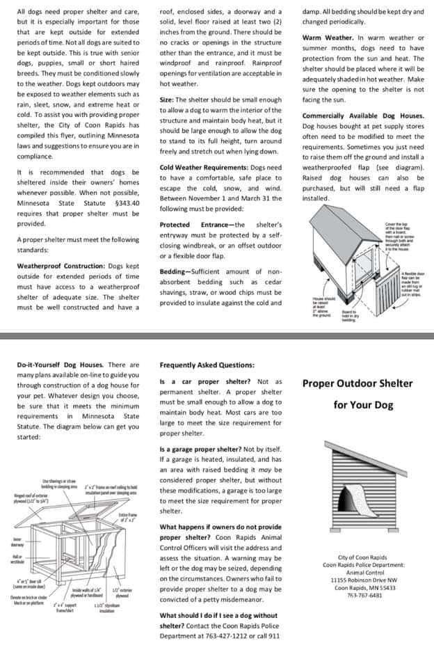 Proper Outdoor Shelter for your dog winter brochure