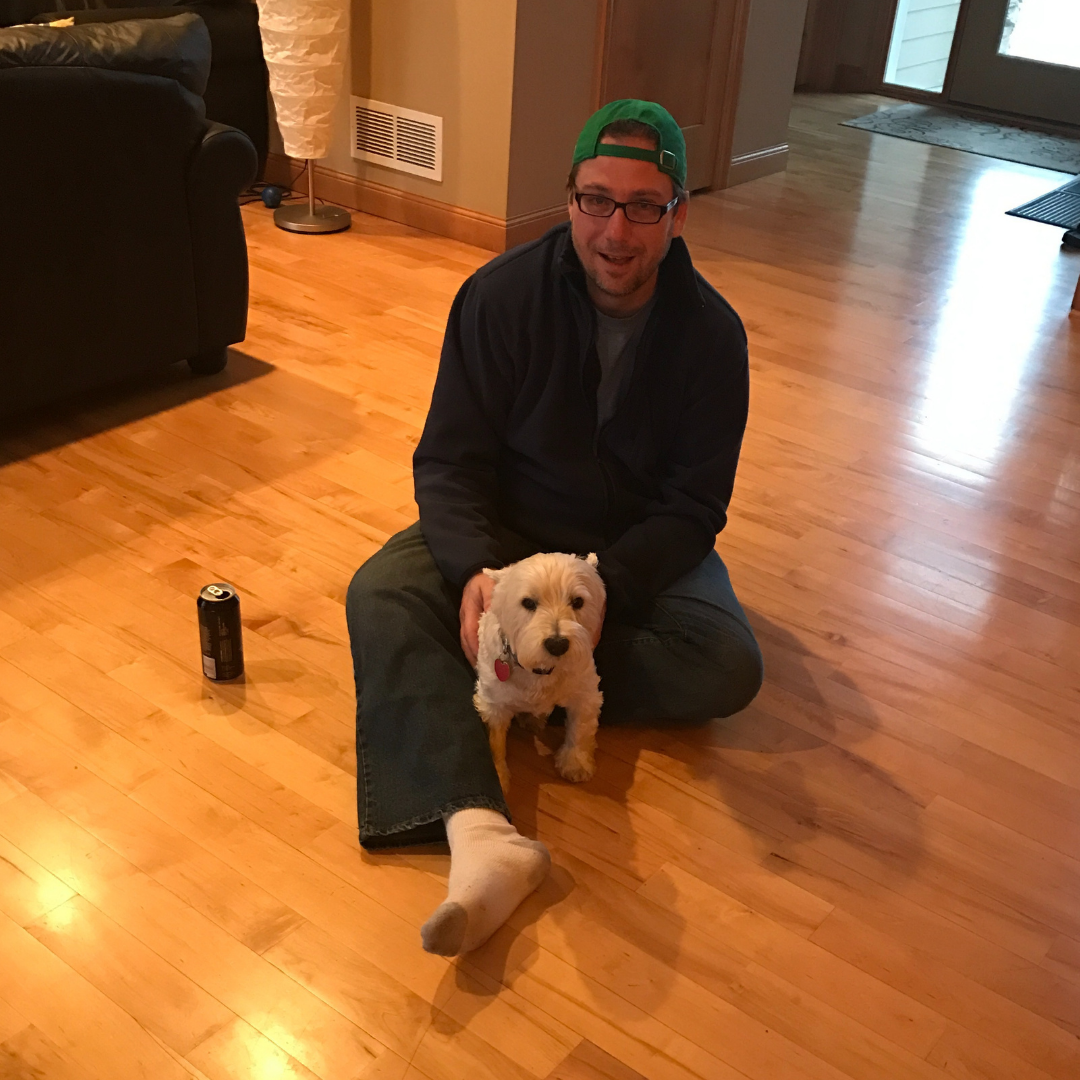 chad and rocco sitting on the floor